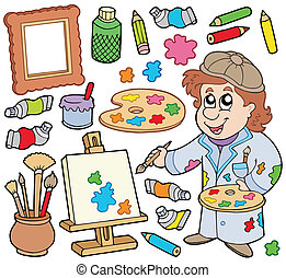Artist collection on white background - vector illustration.