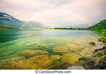 Rainbow Over The Lake - Double Rainbow Over The Lake Wide...