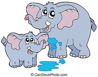 Female and baby elephants - vector illustration