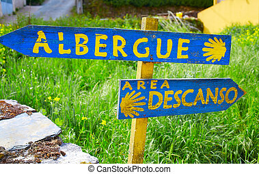 the Way of Saint James in Galicia shell sign to Albergue