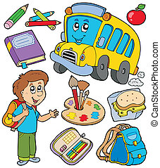 School objects collection - vector illustration.