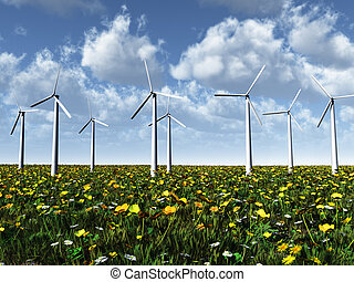 Wind power turbines on a meadow. - Wind power turbines on a...
