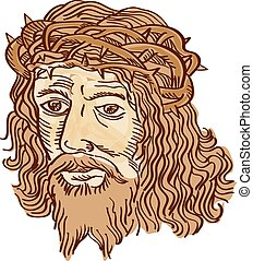 Jesus Christ Face Crown Thorns Etching - Etching engraving...