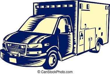 EMS Ambulance Emergency Vehicle Woodcut - Illustration of an...