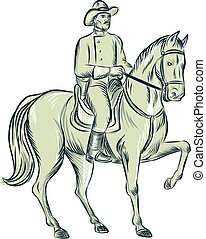 Cavalry Officer Riding Horse Etching - Etching engraving...