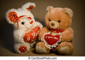 Sweet Valentine Bears - Two Teddy bears with hearts in hands