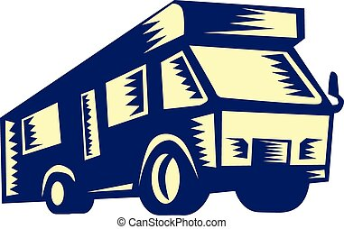 Camper Van Motor Home Woodcut - Illustration of a camper van...