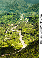 Pastaza River In The Andes Aerial Shot - Pastaza River...