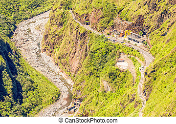 Dried River By Hydroelectric Program - Pastaza River Valley...