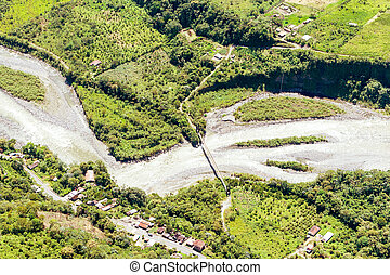 Rio Negro Tungurahua Aerial Shot - Pastaza River Valley In...