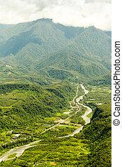 Pastaza River In The Andes Aerial Shot - Pastaza River...