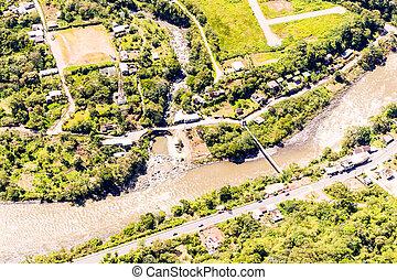 Rio Negro Tungurahua Aerial Shot - Rio Negro Village In...