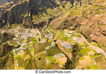 Ecuadorian Farmland Aerial Shot Tungurahua Province High...