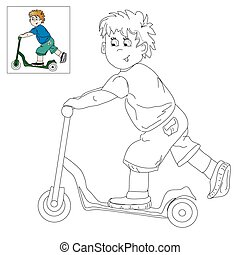 Picture for coloring - boy on the s