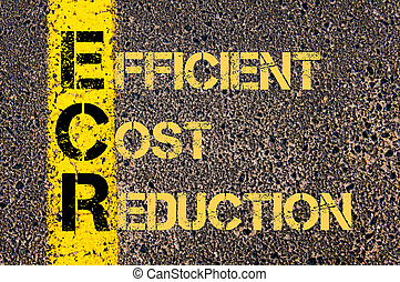 Business Acronym ECR as EFFICENT COST REDUCTION - Concept...