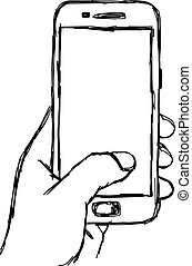 illustration vector doodle hand drawn sketch of human hand using or holding smart mobile phone.