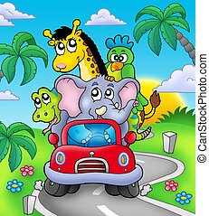 African animals in car on road - color illustration.