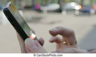 Woman Using Her Mobile Smart Phone - Young Woman Using Smart...