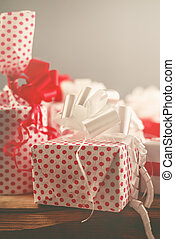 Christmas gifts, time for giving and sharing, retro toned,...