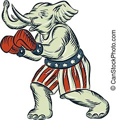 Republican Elephant Boxer Mascot Isolated Etching - Etching...