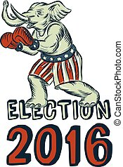 Election 2016 Republican Elephant Boxer Etching - Etching...