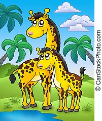 African landscape with giraffes - color illustration