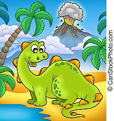 Cute dinosaur with volcano - color illustration