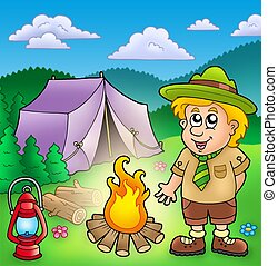 Small scout with fire and tent - color illustration.