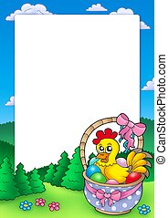 Easter frame with basket and chicken - color illustration.