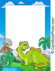 Frame with cute dinosaur - color illustration.