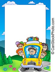 Frame with school bus
