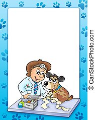 Frame with sick dog at veterinarian - color illustration.