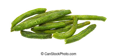 Group of dried green beans on a white background