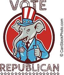 Vote Republican Elephant Mascot Thumbs Up Circle Cartoon -...