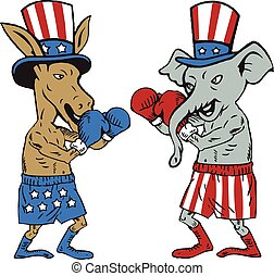 Democrat Donkey Boxer and Republican Elephant Mascot Cartoon...