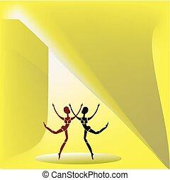 Two dancing figures.