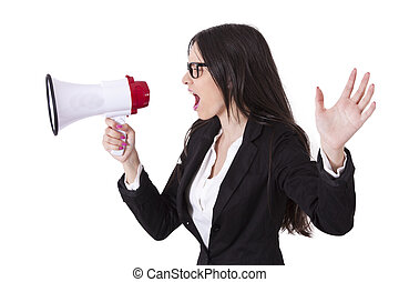 Business woman shouting through megaphones