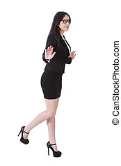 Business woman lifting foot
