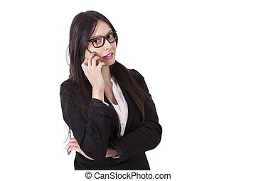 Business woman talking with mobile