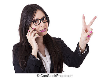 business woman with mobile phone and ok sign