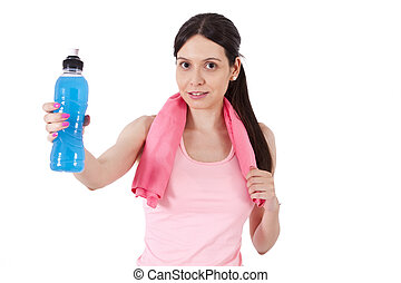 girl doing sport water bottle