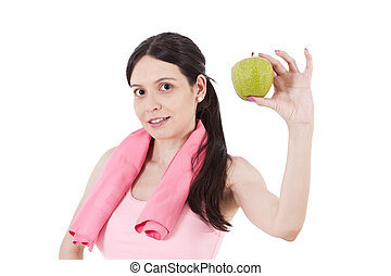 girl playing sports with apple