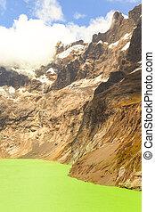 Crater Lake El Altar Volcano - El Altar Volcano In Sangay...