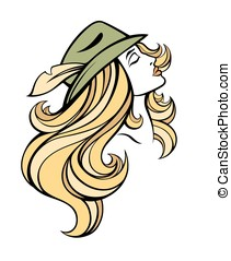 Vector stylized portrait of cartoon pretty fashion blondie...