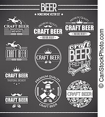 Set of beer labels - Monochrome vector set of beer labels...