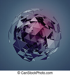 Low Poly Sphere with Chaotic Structure. - Abstract 3d...