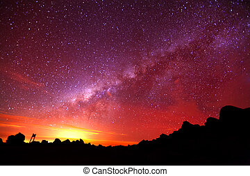 Milky Way Galaxy Long Night Exposure - Milky Way Shot From...