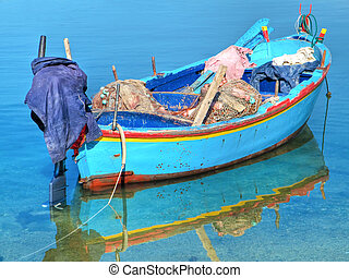 Fishing boat in clear sea. - This is a fishing boat in clear...