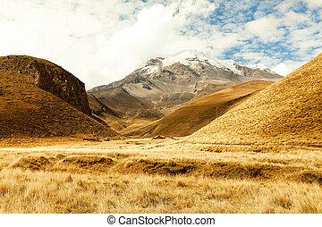 Chimborazo Volcano Landscape - Chimborazo Volcano In Ecuador...