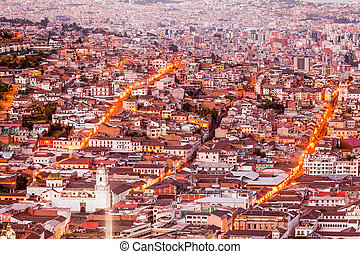 Quito At Dusk - Old Town Of Quito As Seen From Panecillo...